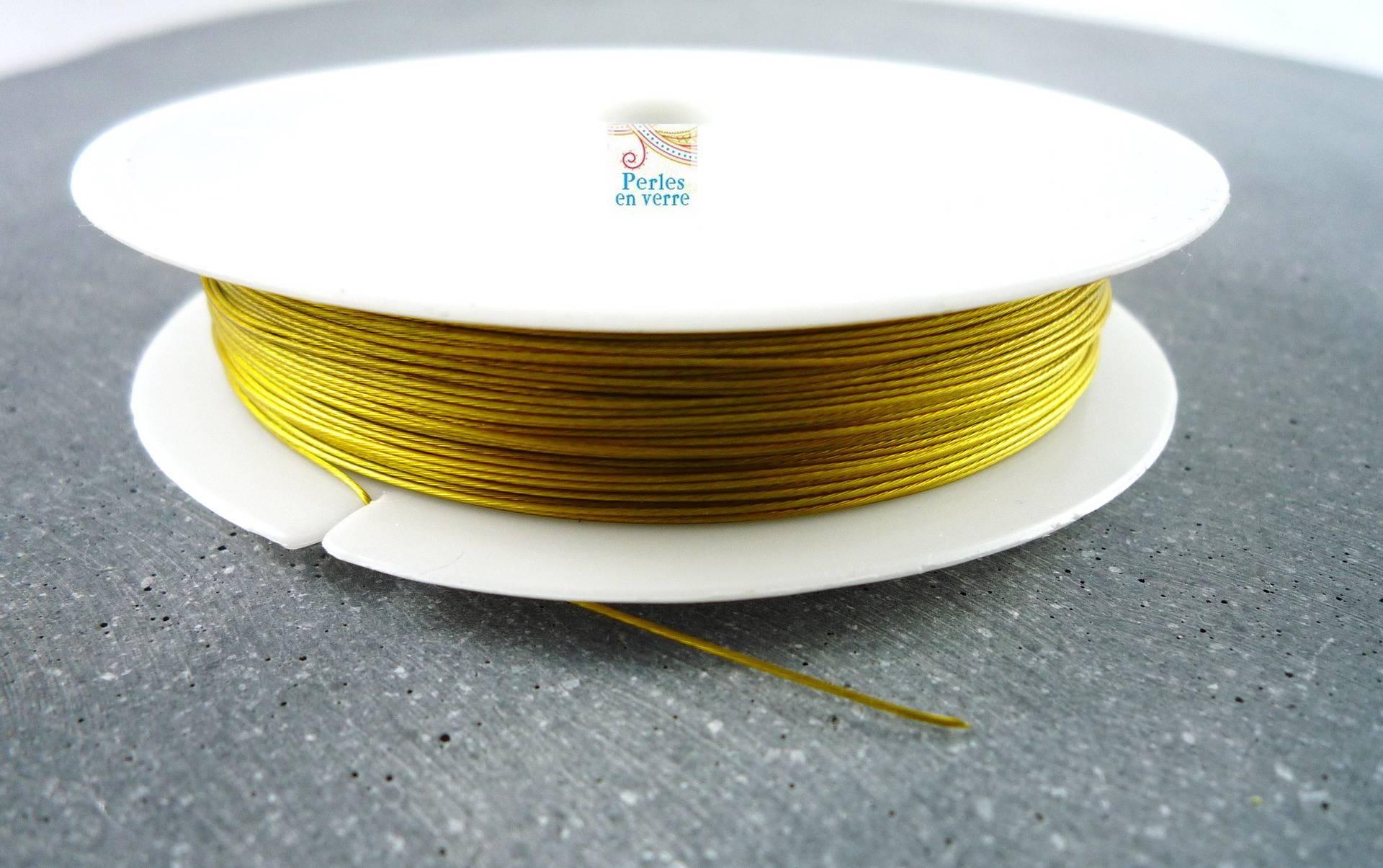 1 bobine 50m fil acier câblé couleur or en 0,45mm (fil41)