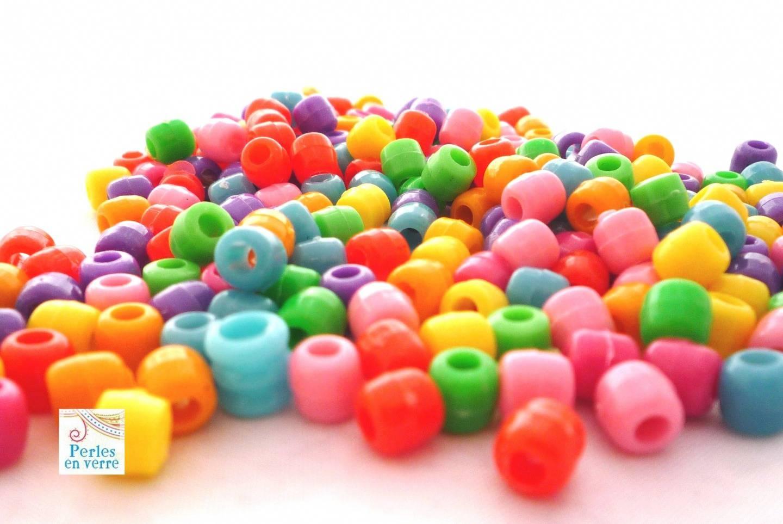 50 perles acrylique multicolores 6x7mm (ps32)