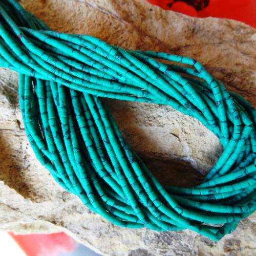 Fil perles heishi turquoise verte