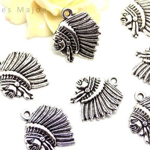 6 breloques éléphant style tibétain couleur argent antique dimensions