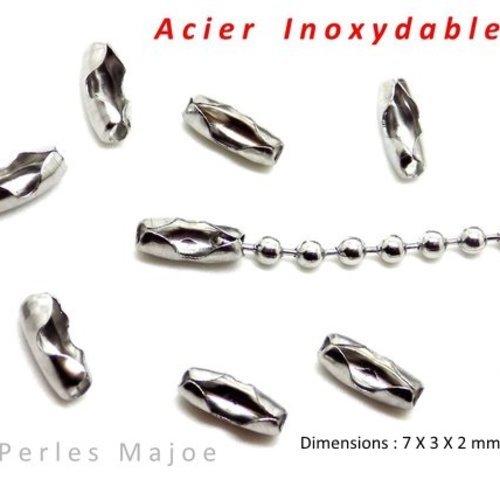 FERMOIR POUR CHAINE BOULE COULEUR ARGENTE PETITES DIMENSIONS 2 X 5 MM LOT DE 20