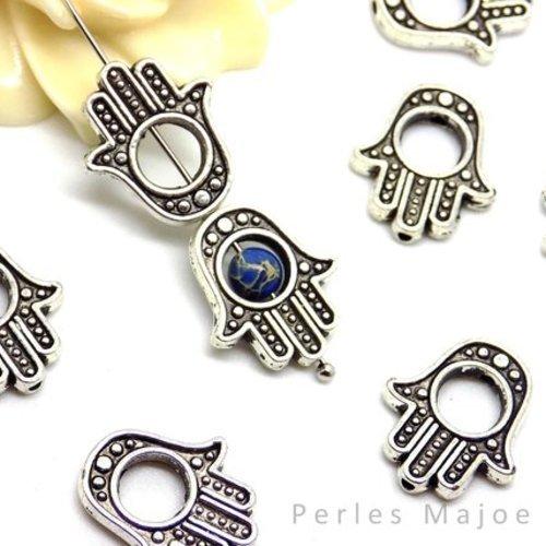 10 x cadres pour perles forme ovale couleur argent antique 15 x 13 mm