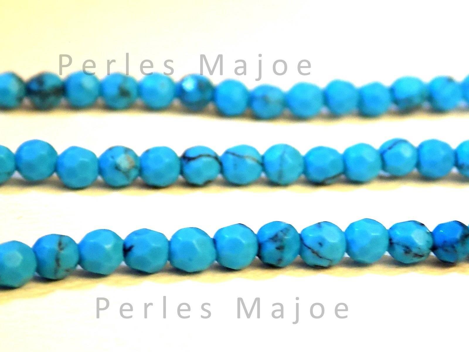 40 perles en turquoise facettées dimensions 4 x 3.5 mm