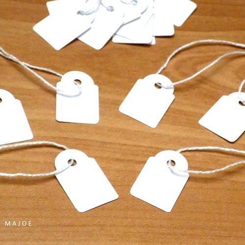 100 Etiquettes pour prix bijoux carton papier blanc fil  23x13mm