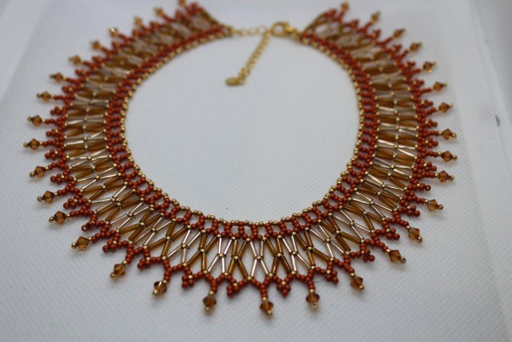 "Collier ""Egyptien"" en perles de verre et cristal Swarovski"