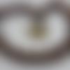 Collier spirale caramel, rose, hématite,  bronze en perles de rocaille