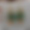 """Boucles d'oreille """"feuille russe""""perles miyuki  turquoise et mandarine"""