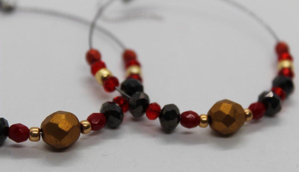 Boucles d'oreilles créoles rouge et noir