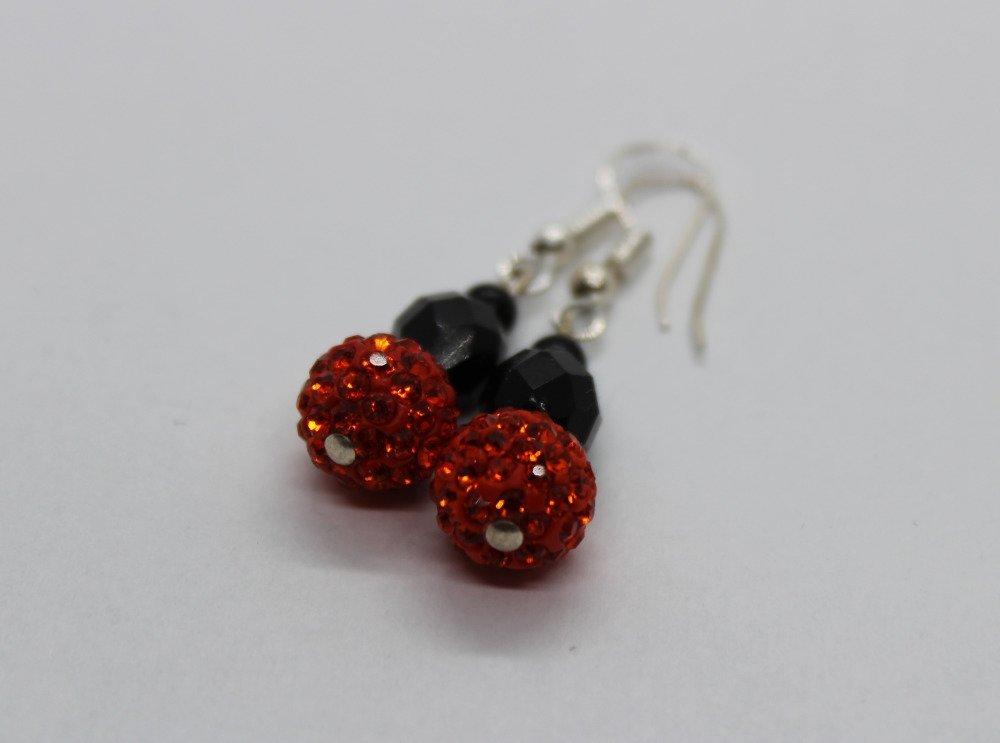 Boucles d'oreilles rouge et noir