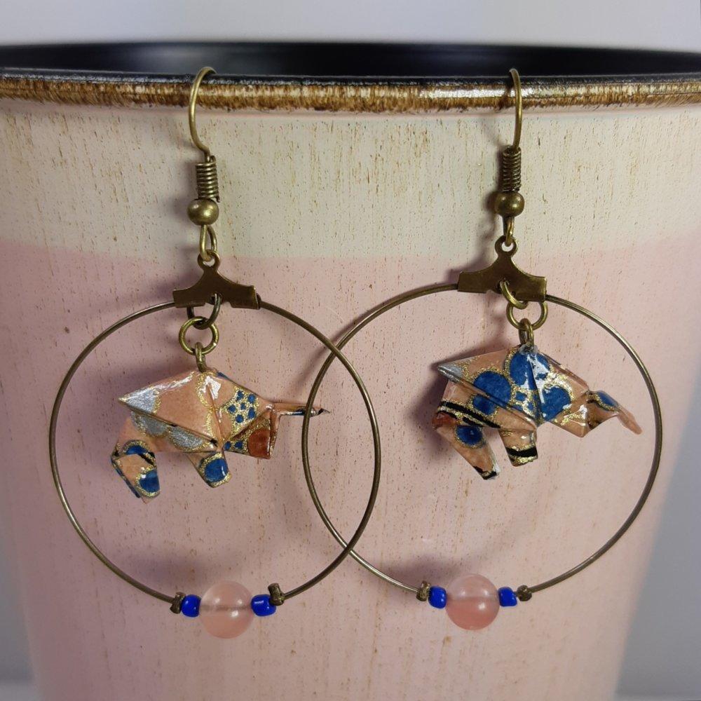 Boucles d'oreilles origami éléphant rose doré et bleu