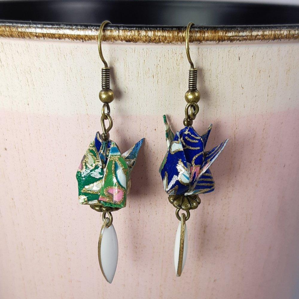 Boucles d'oreilles origami lotus bleu et vert