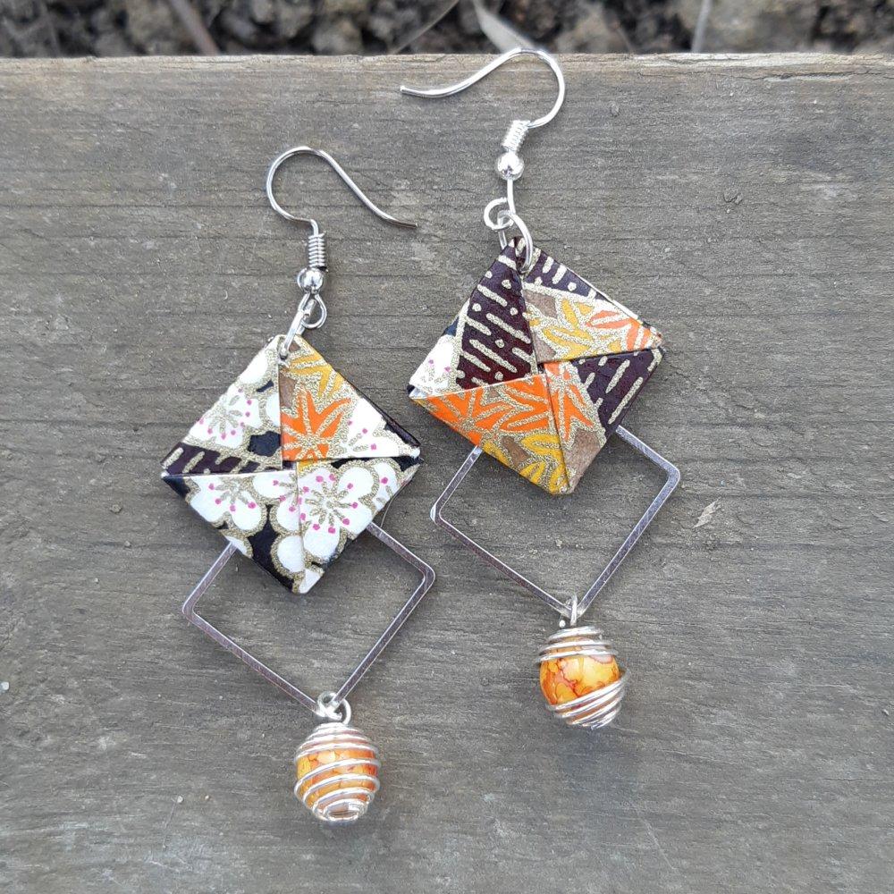 Boucles d'oreilles origami graphique marron et orange