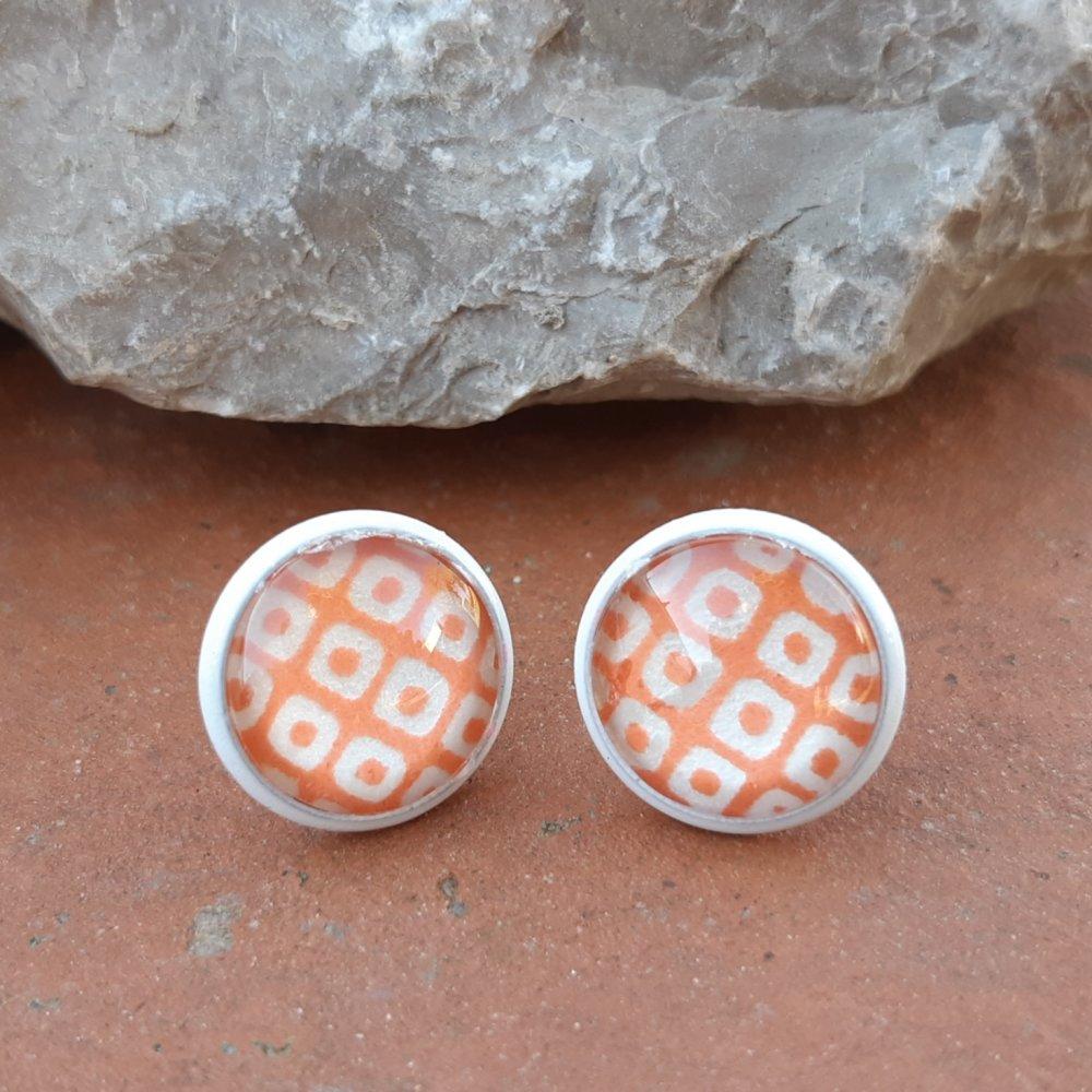 Boucles d'oreilles puce papier japonais graphique orange
