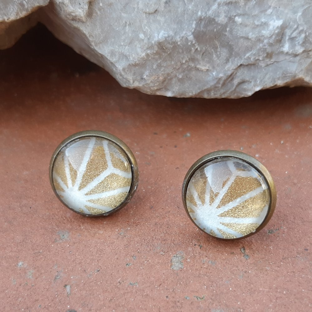 Boucles d'oreilles puce papier japonais graphique or