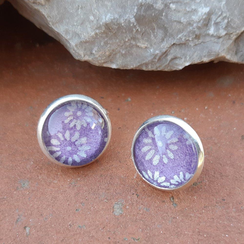 Boucles d'oreilles puce papier japonais violet