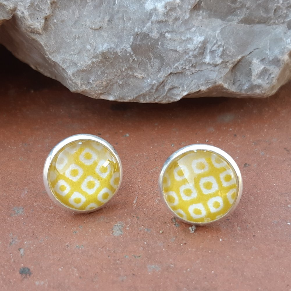 Boucles d'oreilles puce papier japonais graphique jaune
