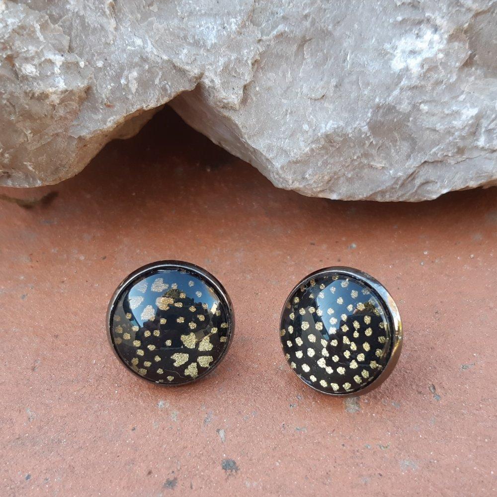Boucles d'oreilles puce papier japonais noir et doré