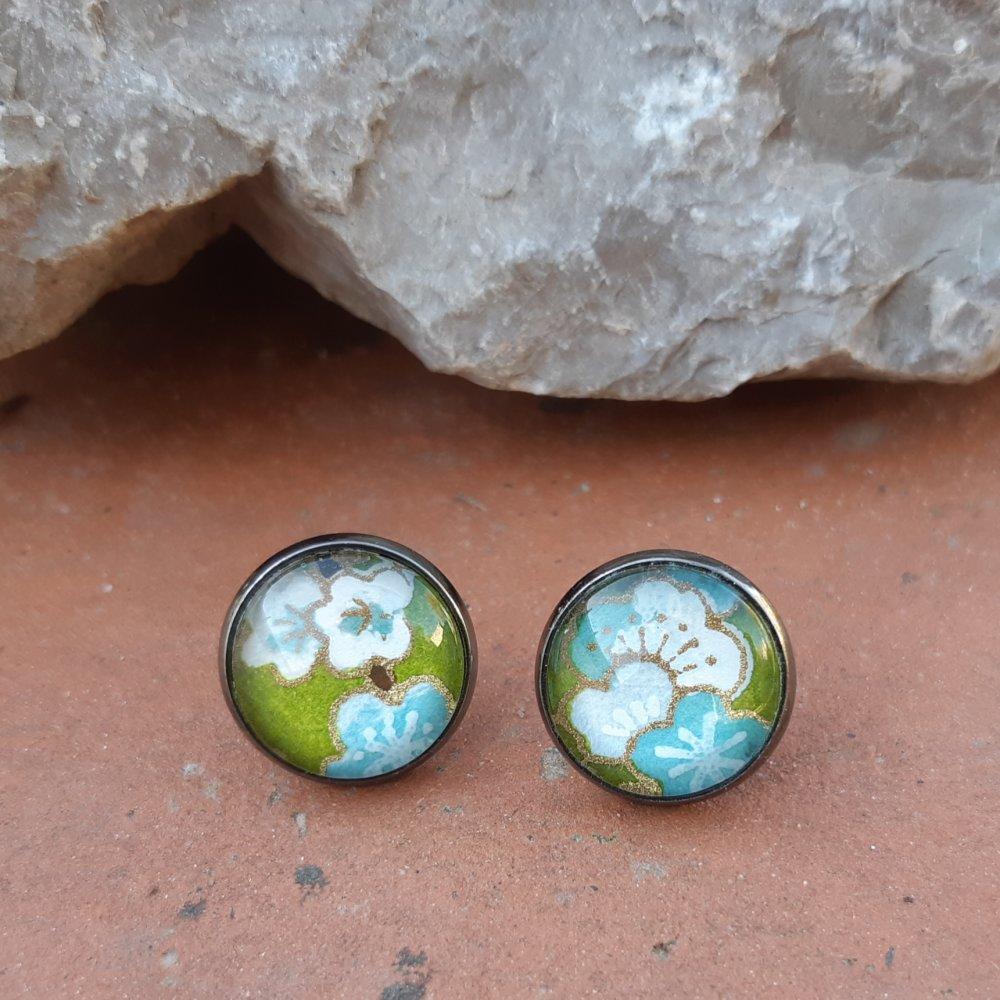 Boucles d'oreilles puce papier japonais vert et bleu