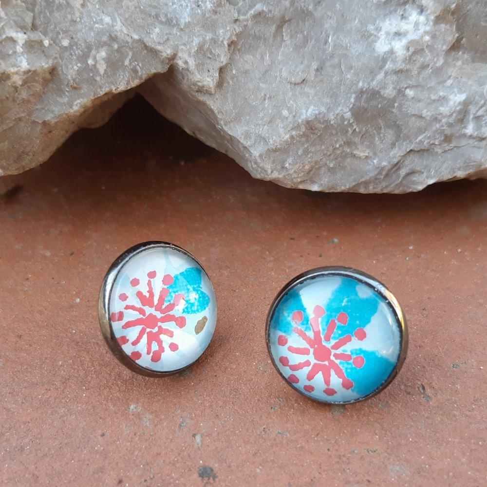 Boucles d'oreilles puce papier japonais bleu et rouge