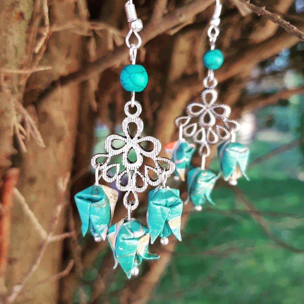 Boucles d'oreilles origami multi-lotus turquoise