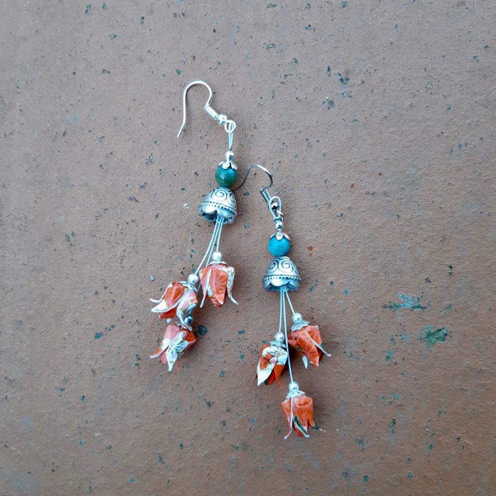 Boucles d'oreilles origami multi-lotus corail