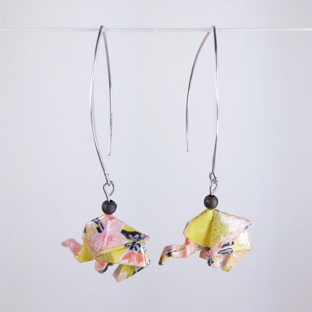 Boucles d'oreilles origami éléphant moutarde et rose