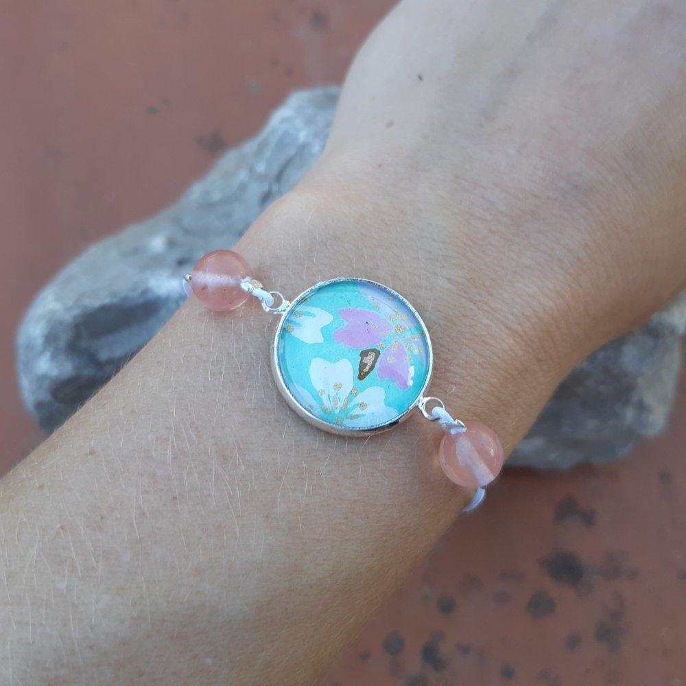 Bracelet élastique papier japonais bleu ciel et rose