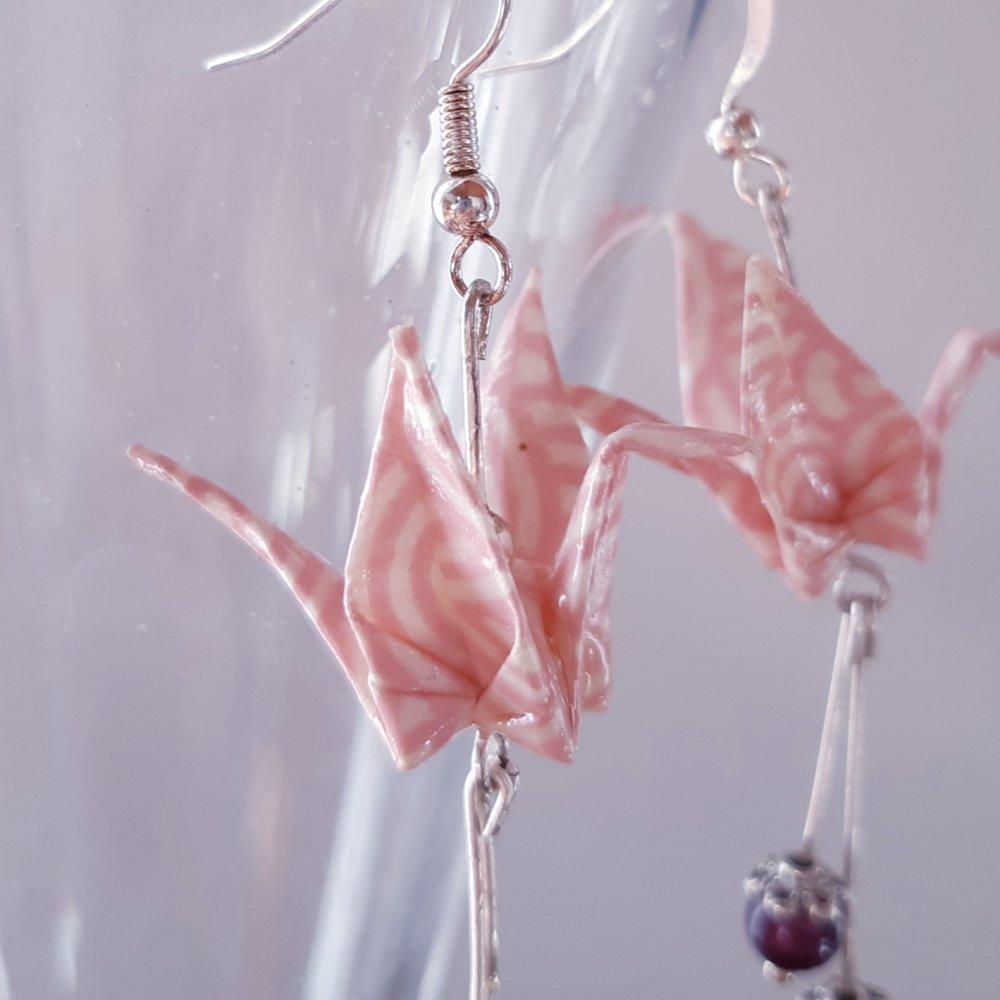 Boucles d'oreilles origami grue rose