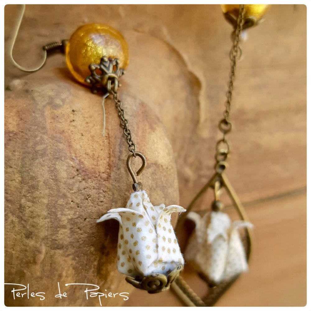 Parure origami lotus et perles de Murano or