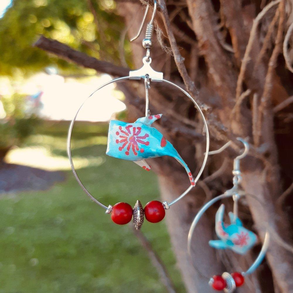 Boucles d'oreilles origami carpe koi rouge et bleu
