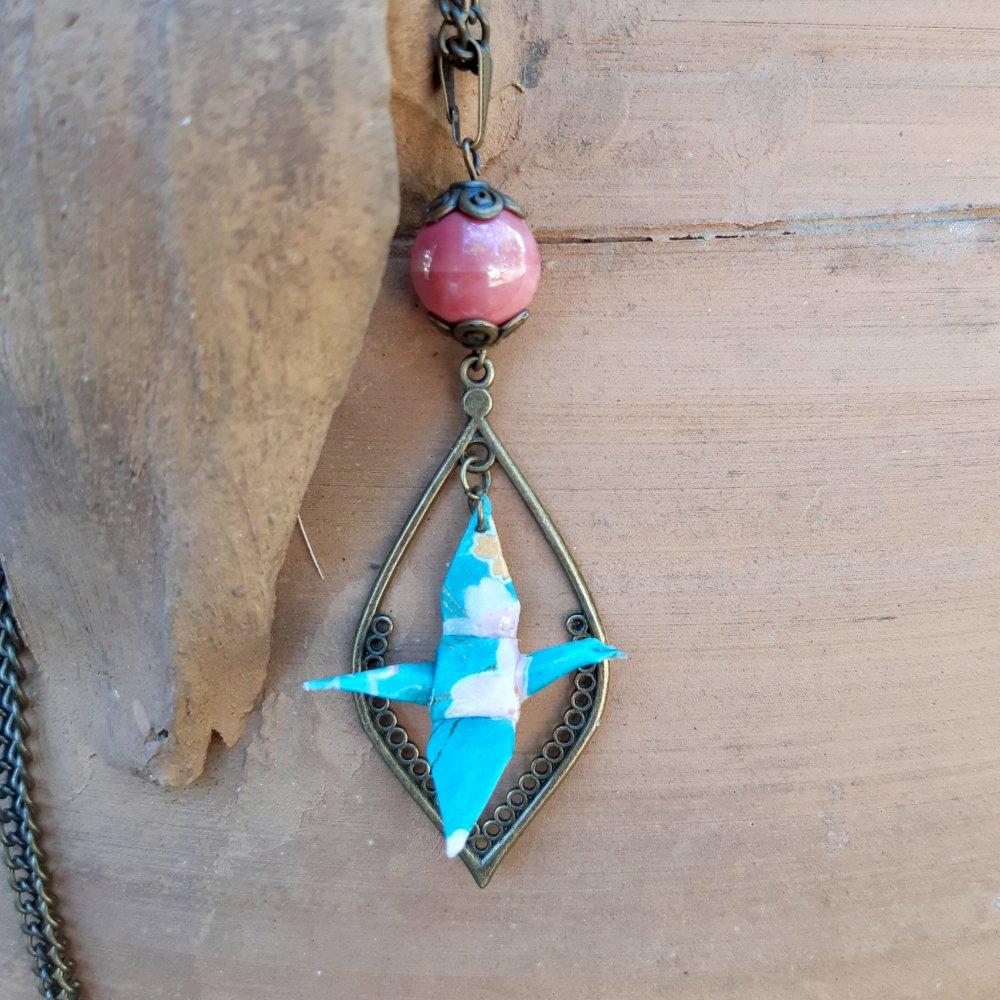 Sautoir origami grue turquoise