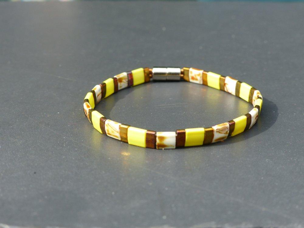 Bracelet Tila jaune et métallic gold iris