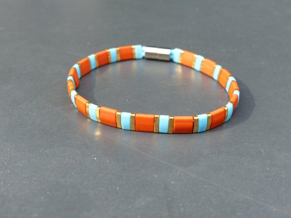 Bracelet Tila terra cotta, turquoise et Or