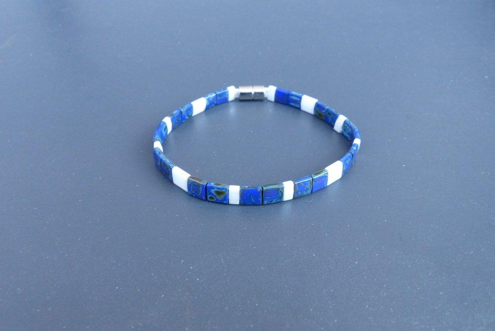 Bracelet Tila bleu picasso et blanc