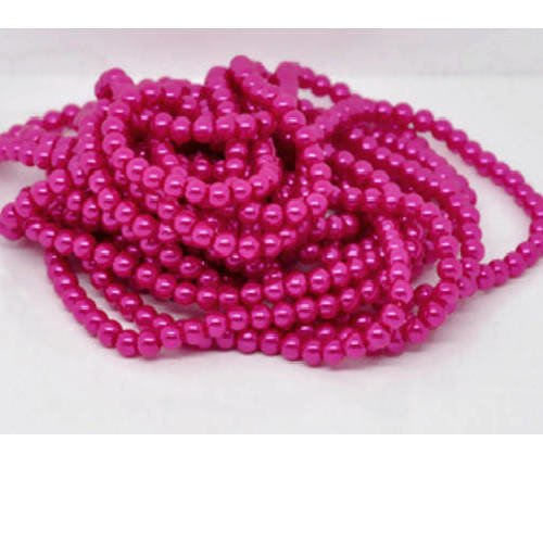 Lot de 50  perles en verre nacrées roses fuchsias 6 mm