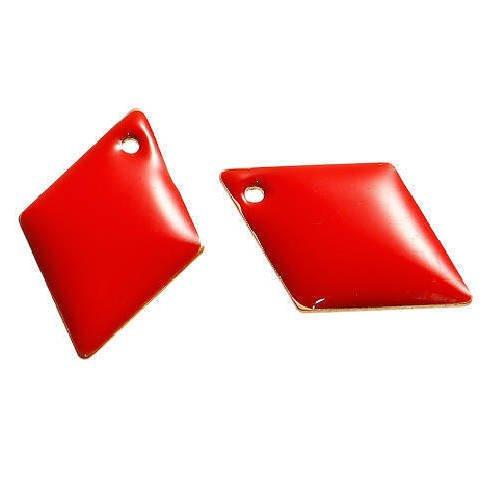 Lot de 2 sequins losanges rouges en cuivre émaillés 16 mm x 11 mm
