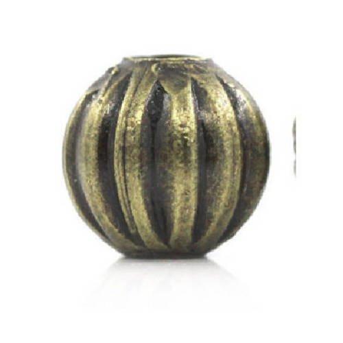 Lot de 20 perles métal couleur  bronze antique 6 mm forme citrouille