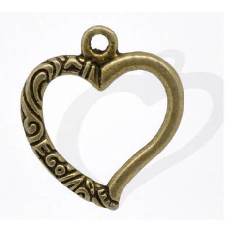 Lot de 30 breloques cœurs ciselées couleur bronze 25 mm x 22 mm