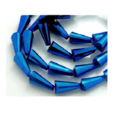 Lot de  20  perles larmes  verre bleues 16 mm x 8 mm