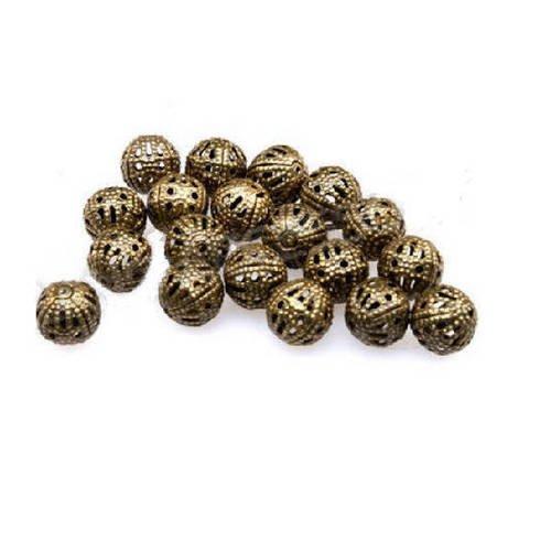 Lot de 50 perles ajourées filigranées  couleur bronze 6 mm