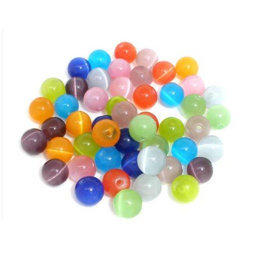 Lot de 20 Perles Oeil de Chat en verre 10mm Mélange de couleurs