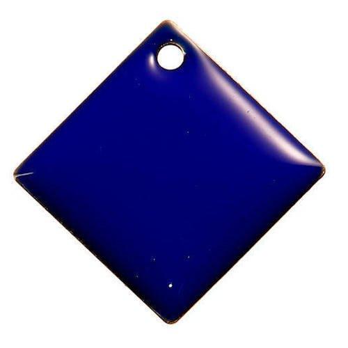 Lot de 2 sequins losanges bleus  en cuivre émaillés 24 mm x 24 mm