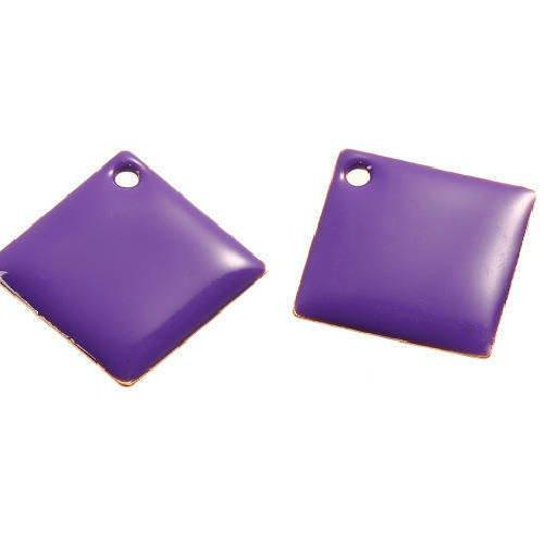 Lot de 2 sequins losanges violets en cuivre émaillés 24 mm x 24 mm