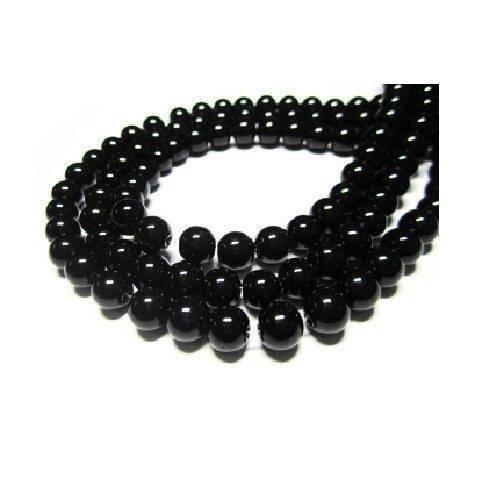 Lot de 50 superbes perles en verre nacrées noires brillantes marbrées 6 mm