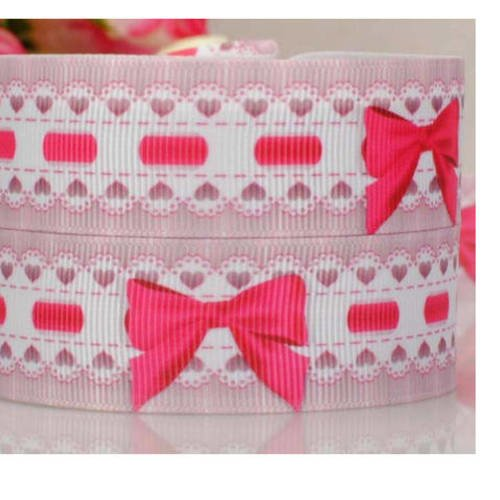 Ruban liberty ,petits noeuds, rose, fuchsia et blanc 22 mm ,le mètre,