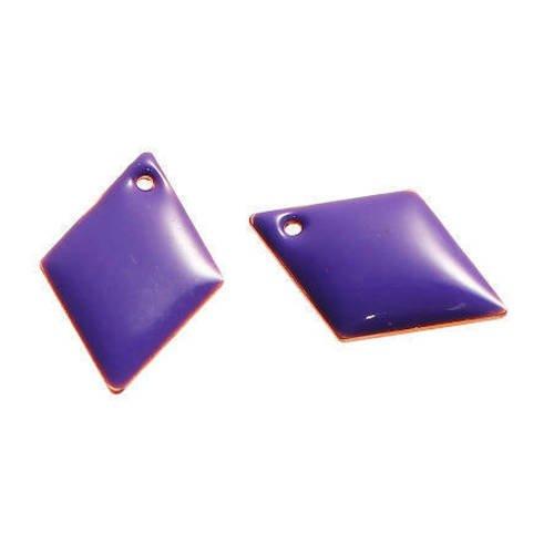 Lot de 2 sequins losanges violet en cuivre émaillés 16 mm x 11 mm