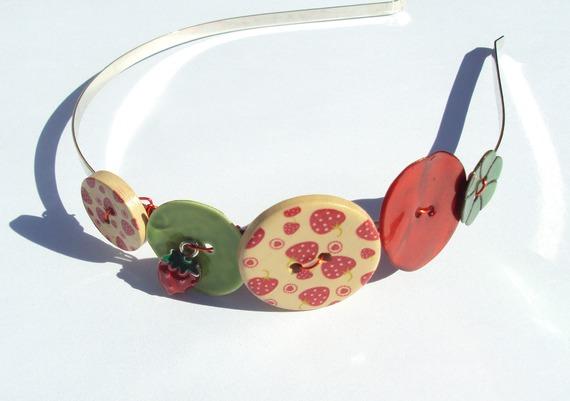 serre-tête 2015 enfant ou adulte petite fraise rouge et vert  fait main