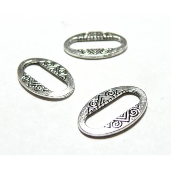 Apprêt bijoux 40 pendentifs anneau connecteur ovales 2W5114 Vieil argent