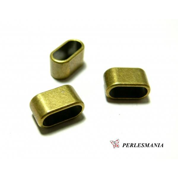 50 pendentifs perles intercalaires 2A8817 slide rectangle Bronze