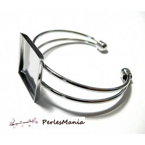 1 support de bracelet carre 16mm argent platine pour collage digitale